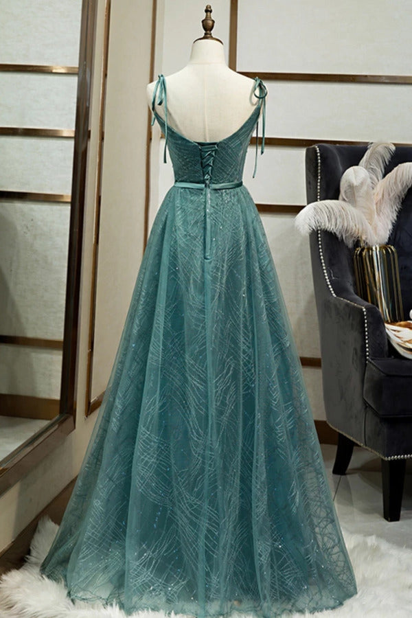 Spaghetti Straps Tulle Modest A Line Evening Dress Long PN7AQCM2