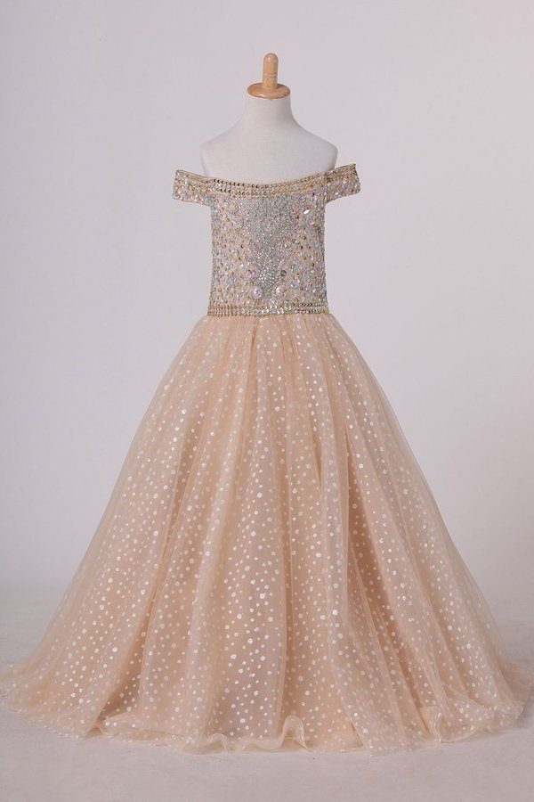 Boat Neck Tulle With Beads Ball Gown Flower Girl Dresses Floor P4459RM8