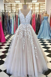 V Neck Tulle Lace Long Wedding DressTulle Ball Gown Prom Dress With PECHG1HZ