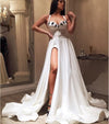 Sexy A Line Satin Sweetheart Slit Appliques Prom Dresses, Evening Formal Dresses STI15592