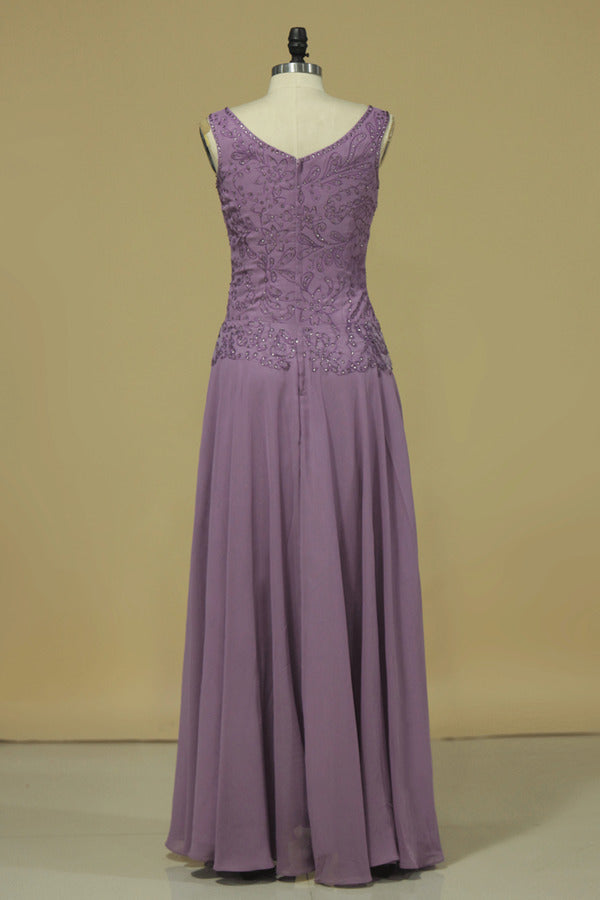 V Neck Evening Dresses A Line With Applique & Beads PYDZ1D2X