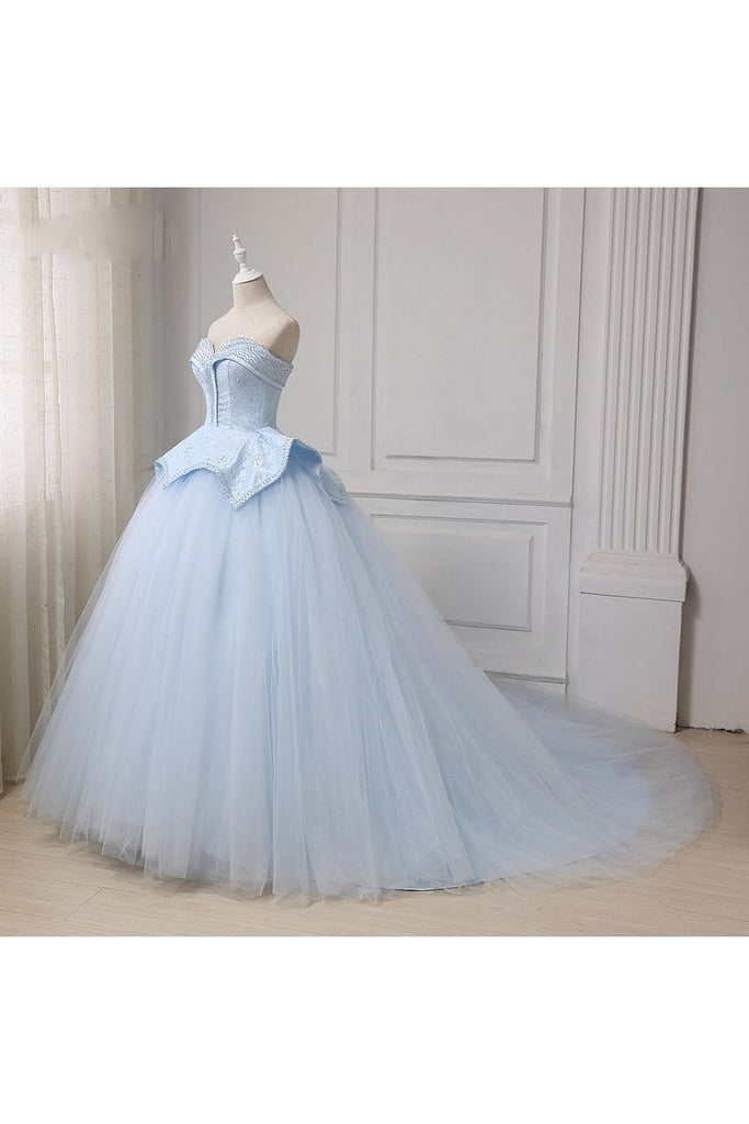 Sweetheart Ball Gown Beading Tulle Prom Dress Court Train Quinceanera STIP5FLTMDC