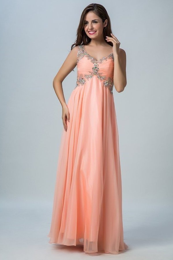 Chiffon V Neck A Line Prom Dresses With Beads And PDX974DK