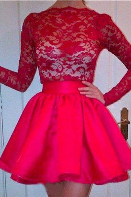 High Neckline Long Sleeves Red Lace Top Short Prom Dresses, Homecoming Dresses STI15237