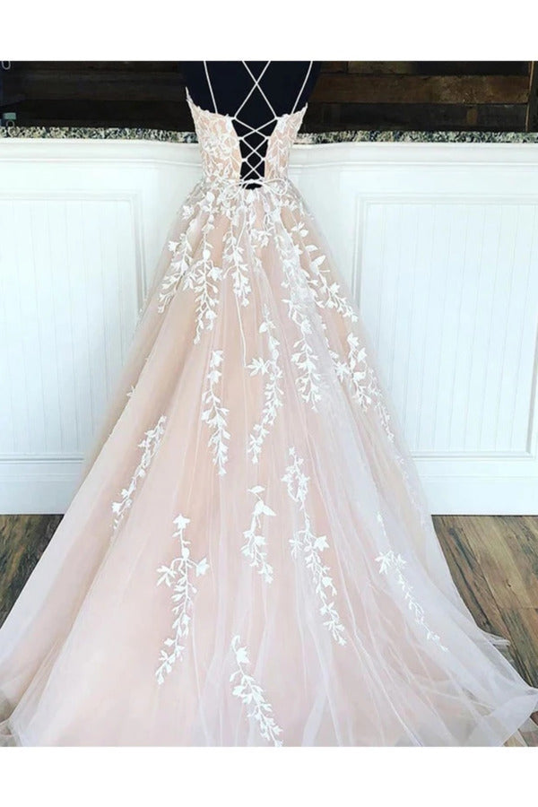 Spaghetti Straps Floor Length Prom Dress With Appliques Long Evening Dress Lace PLN2ZEMM