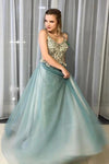 A-Line Spagahetti Straps Sweetheart Beades Long Prom Dresses, Evening STI15619