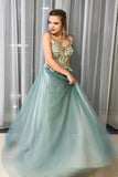 A-Line Spagahetti Straps Sweetheart Beades Long Prom Dresses, Evening STI20391