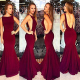 Red Backless Bateau Neck Mermaid Stretch Satin Prom Dresses 2019 Prom Dresses