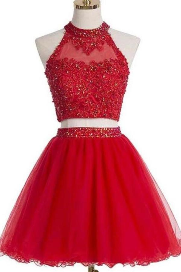 Two PiecesTulle With Beading And Appliques Homecoming Dresses P1P3YBXK
