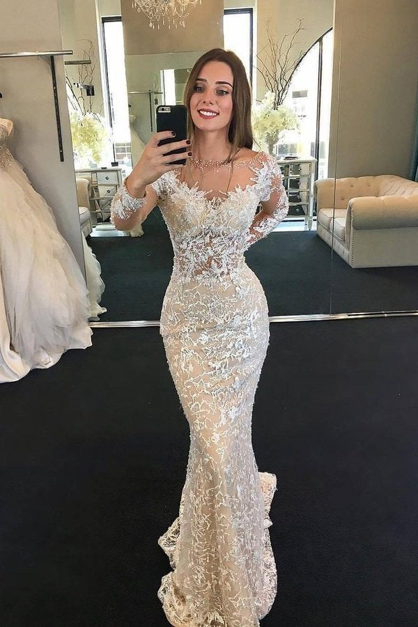 2020 Scoop Long Sleeves Lace Wedding Dresses With P7C6444B