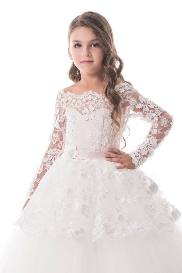 2020 Tulle Boat Neck Flower Girl Dresses A Line Long PNTH9RZ5