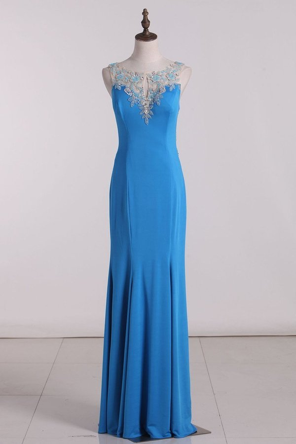 2020 Scoop Mermaid Prom Dresses Spandex With PCJ17GGD