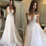 Sexy Spaghetti Straps V Neck A Line Tulle Ivory Backless Prom Dresses Wedding Dresses