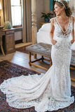 V-Neck Ivory Lace Long Mermaid Elegant Wedding Dresses PNSZB1P7