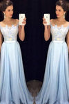 Scoop Sleeveless A-line Chiffon Long Prom Dress evening dresses