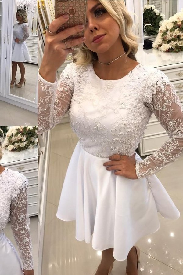 2020 Scoop Long Sleeves A Line Homecoming Dresses Satin With P82YLFFT