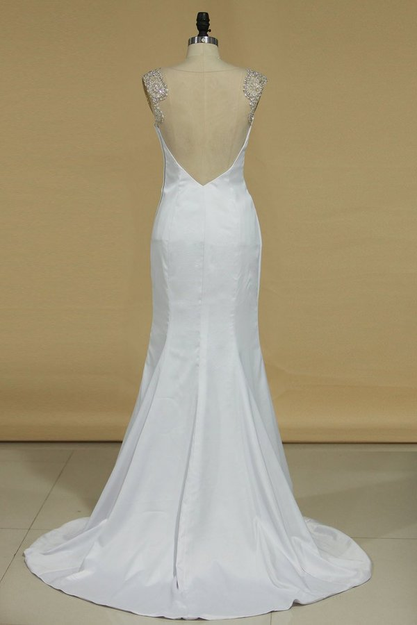 2020 Scoop Mermaid Wedding Dresses Spandex With P5QRE6B4