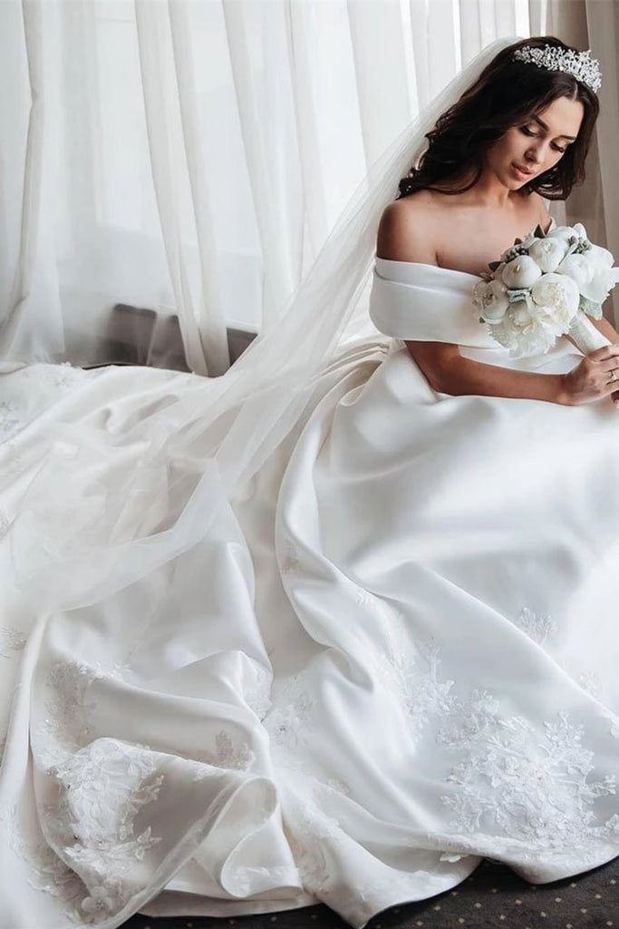 Ball Gown Off The Shoulder Satin White Sweetheart Wedding Dresses Wedding STIP46AJRNZ