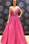 Sugar Pink V-Neck Spaghetti Straps Open Back Sleeveless Prom Dress Satin Prom Dresses