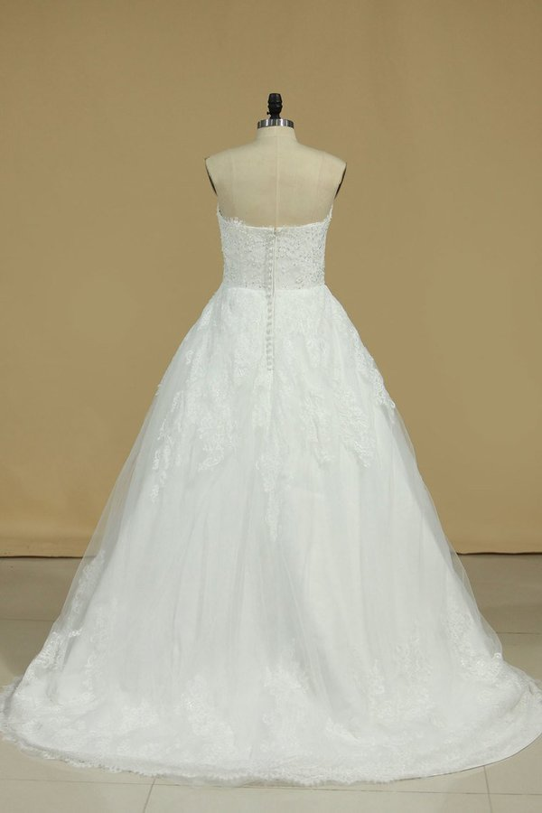 Tulle Sweetheart Wedding Dresses A Line With Applique P79N8NBR