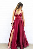 V-Neck Side Split Burgundy Prom Dress With P3TPT2A5
