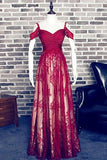 Red A-Line Sweetheart Burgundy Lace Long Off Shoulder Open Back Prom Dresses