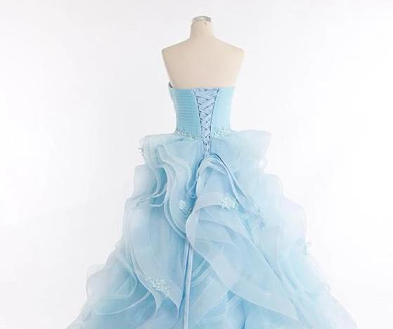 Light blue organza sweetheart applique A-line prom dress graduation