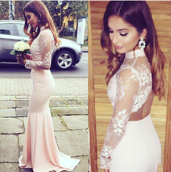 Modest Prom Dress High Neck Lace Pink evening dress Long Open Back Prom Dresses