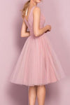 Princess A-line Knee Length Short Pink V Neck Tulle Homecoming Dress Party Dress
