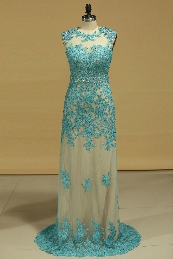 Scoop Tulle With Applique And Beading Prom Dresses P6SNDD94