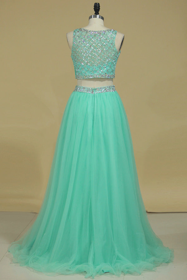 Two Pieces Prom Dress Bateau A Line Pick Up Tulle P9LK36ZY