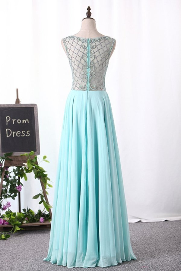 A Line Boat Neck Chiffon Prom Dresses With Beading Floor P2PJM2YS