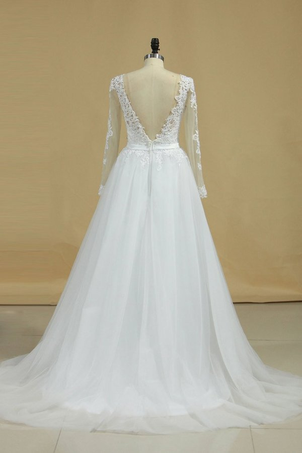 Boat Neck Wedding Dresses A-Line Long Sleeves PQEYRXYM