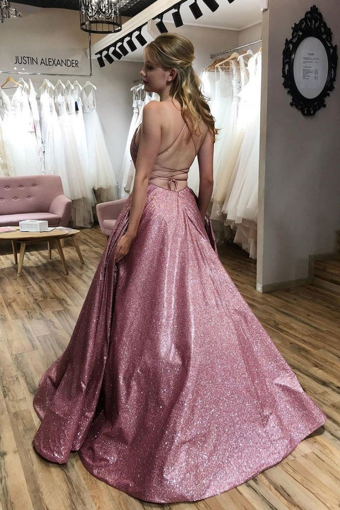 Unique A line Pink Sequins Spaghetti Straps Prom Dresses, Evening STI20450