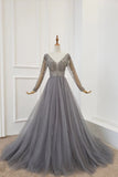 A Line Long Sleeves V Neck Gray Tulle Prom Dresses with Beading, Evening Dress STI15549