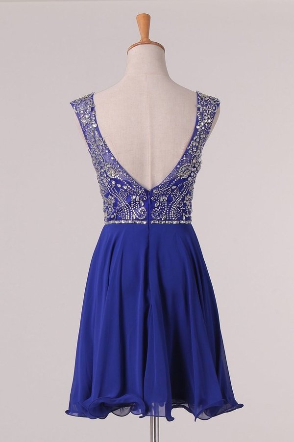 Chiffon Bateau Beaded Bodice Homecoming Dresses A Line Open P45QDQKG