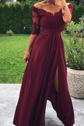 Modest Off the Shoulder Burgundy Bridesmaid Dresses with Slit, Prom STI15655