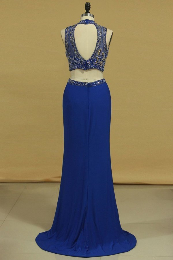 Two Pieces Column Prom Dresses High Neck With P8XQCQGS