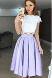 Two Piece Tea-Length Lavender Prom Homecoming Dress With PRYJB5HZ