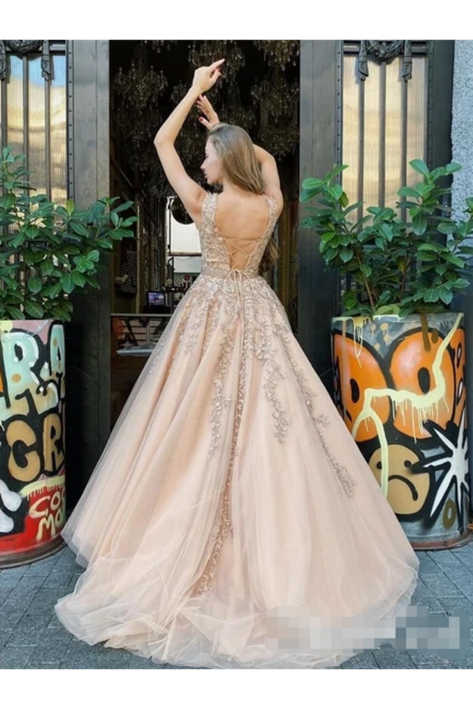 A Line Bateau Neckline Beadings Sash Prom Gown Champagne Appliques Lace Up Back Prom STIP9H7T9ZJ