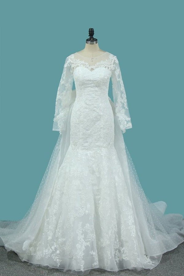 Tulle Long Sleeves Mermaid Wedding Dresses With Applique P4KD7MM9
