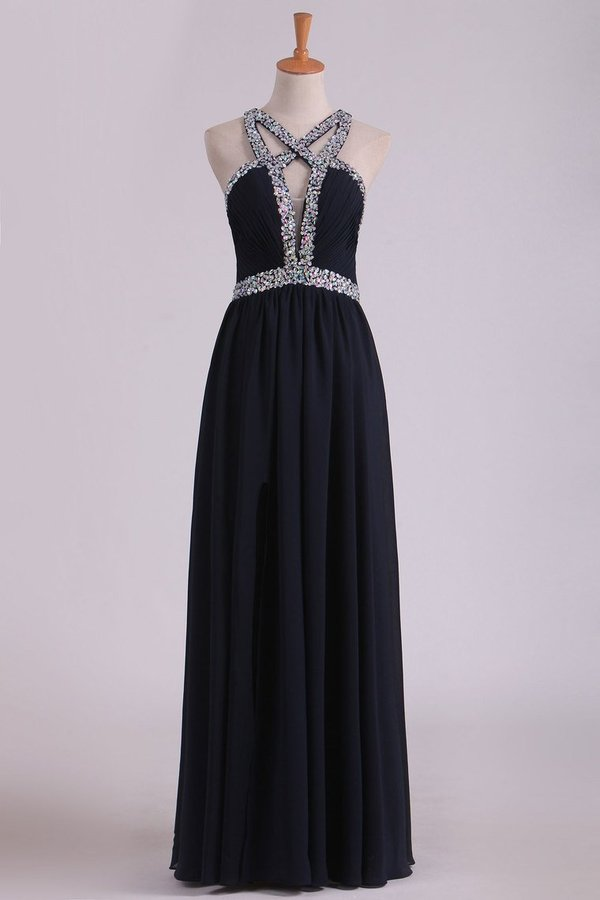 Sexy Open Back A Line Prom Dresses Chiffon With Beads PNYS3R83