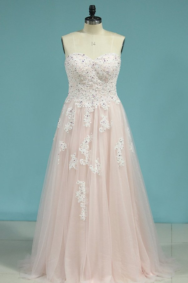Tulle Prom Dresses Sweetheart With Applique And P21G14LC