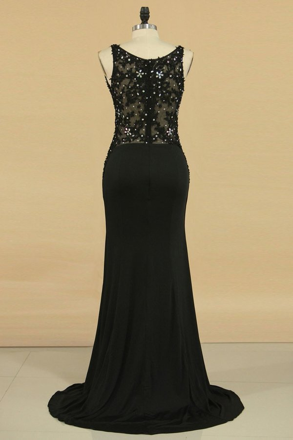 Spaghetti Straps Prom Dresses Sheath/Column Spandex & Tulle With P2TR5FT9