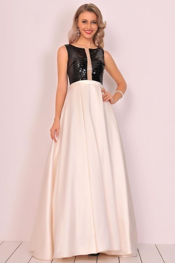 A Line Scoop Satin Prom Dresses With Sequins&Bow PCCAGME6
