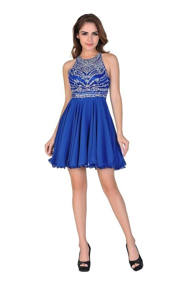 A Line/Princess Halter Homecoming Dresses Tulle & Chiffon PGBDAAJ3