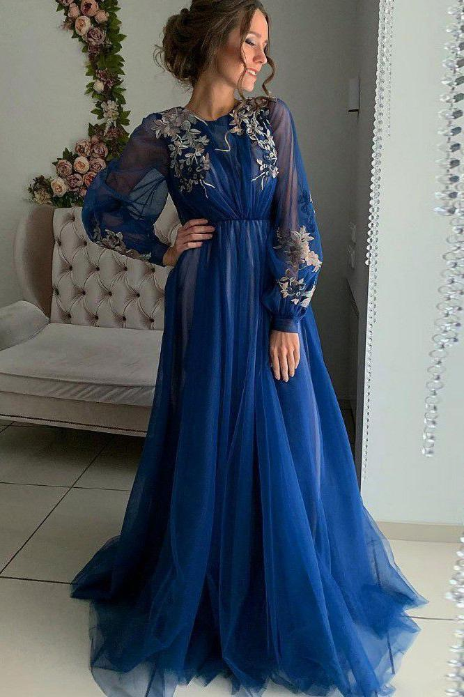 Charming A Line Long Sleeve Tulle Appliques Prom Dresses, Long Evening STI20456