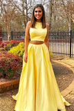 Simple Two Pieces Yellow Long Satin Sleeveless High Neck Prom Dresses with Pockets