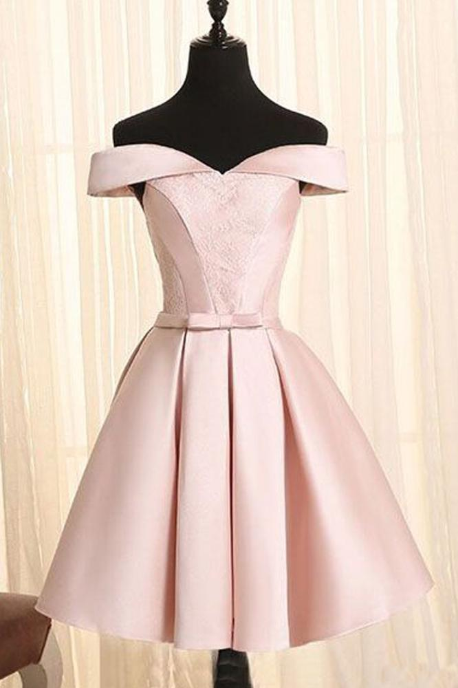 Simple A Line Off the Shoulder Pearl Pink Satin Short Homecoming Dresses with Lace
