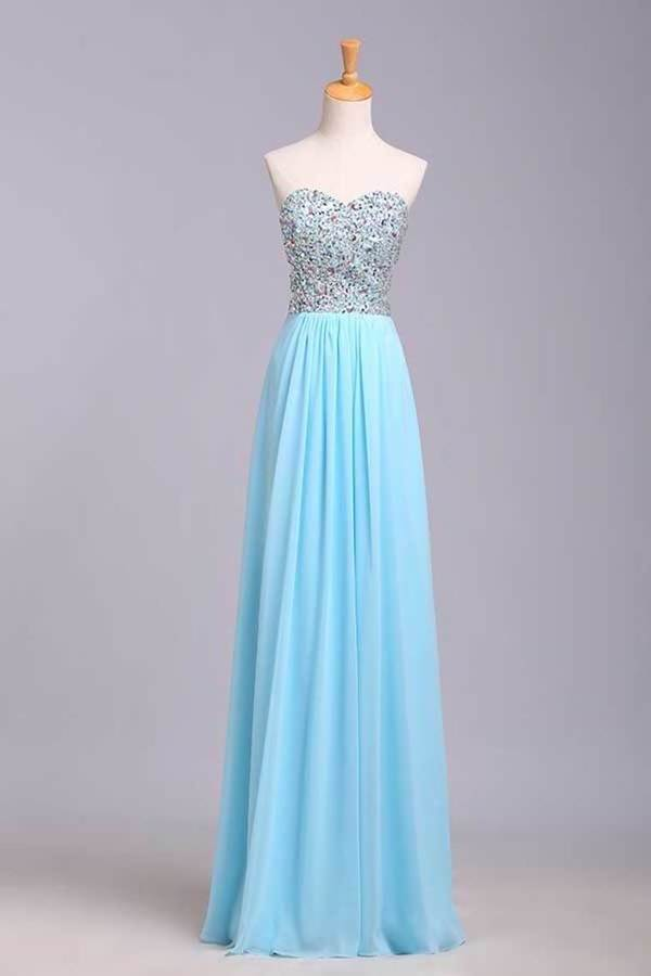 Big Clearance Prom Dresses A-Line Sweetheart Chiffon Floor Length With PDM4PEEX